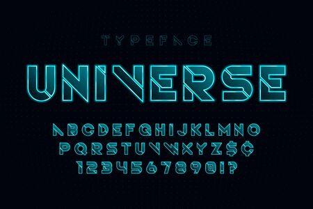 Glowing futuristic sci-fi alphabet, creative characters set.