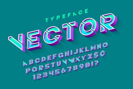 Stencil futuristic sci-fi alphabet, creative characters set.
