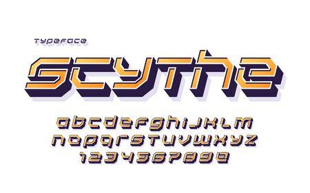 Vector stencil futuristic sci-fi alphabet, creative characters set