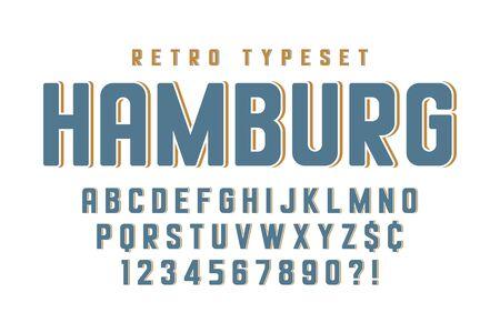 Original condensed retro alphabet, creative characters set  イラスト・ベクター素材