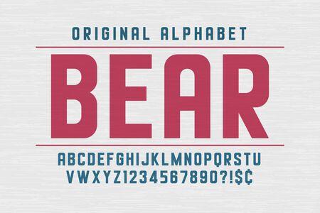Original condensed retro alphabet, creative characters set.