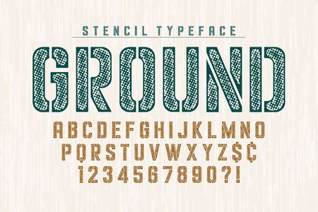 Stencil original condensed alphabet, creative characters set