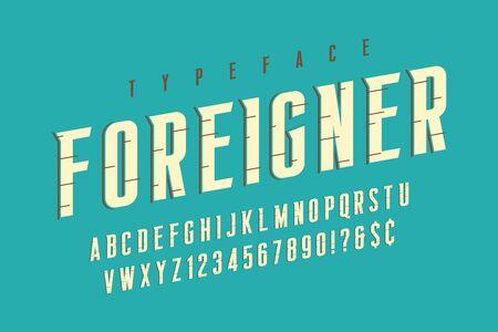 Original retro condensed alphabet, creative characters set. Çizim