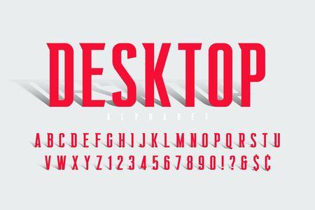 Original condensed alphabet, creative vector characters set Stok Fotoğraf - 132030344