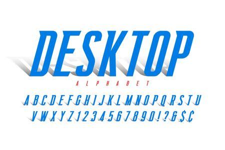 Original condensed alphabet, creative vector characters set Çizim