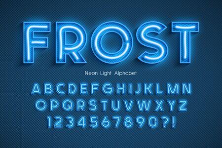Alphabet 3d néon léger, police extra rougeoyante.