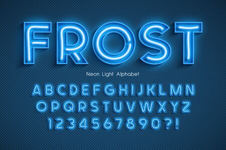 Neon light 3d alphabet, extra glowing font. Banco de Imagens - 132030428
