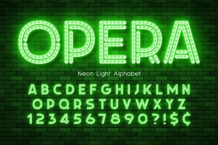 Neon light 3d alphabet, led extra glowing font.