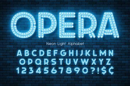 Neon light 3d alphabet, led extra glowing font.
