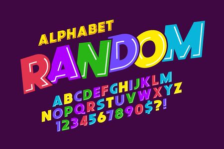 Flat extra bold bubble comical type design, colorful alphabet, typeface. Color Swatches control.12 degree skew.