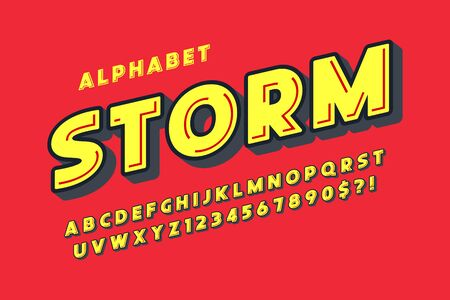 Flat extra bold bubble comical type design, colorful alphabet