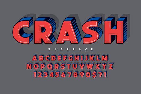 Trendy 3d comical font design, colorful alphabet, typeface Çizim