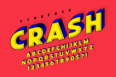 Trendy 3d comical font design, colorful alphabet Çizim