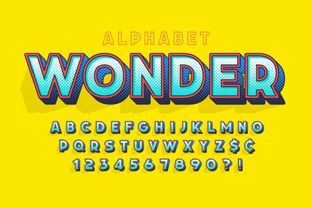 Trendy 3d comical letters design, colorful alphabet, typeface.