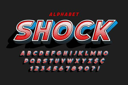 Trendy 3d comical font design, colorful alphabet, typeface.