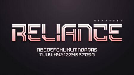 Vector inline technology alphabet, creative characters set