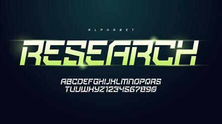 Vector modern technology alphabet, creative characters set Çizim