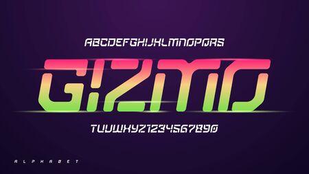 Vector modern funny technology alphabet, creative characters set