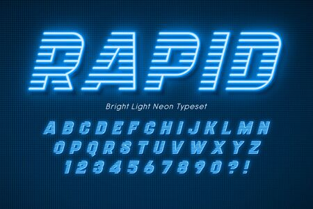 Neon light 3d alphabet, extra glowing font. Foto de archivo - 136982293