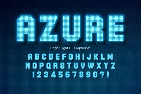 Shining LED light alphabet, extra glowing font. Çizim