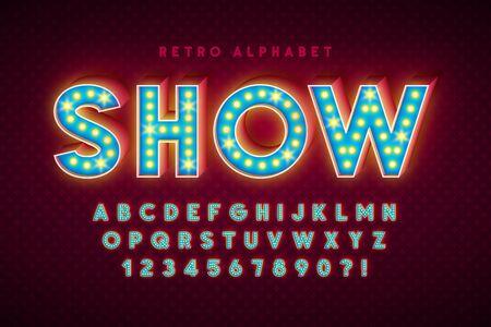 Retro cinema font design, cabaret, LED lamps letters Foto de archivo - 137403947