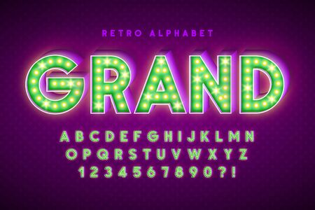 Retro cinema font design, cabaret, LED lamps letters Foto de archivo - 137582004
