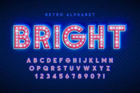 Retro cinema font design, cabaret, LED lamps letters Foto de archivo - 136421762