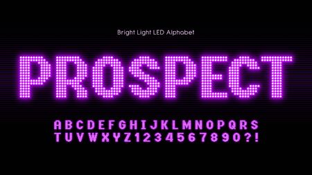 Shining LED light alphabet, extra glowing font. Exclusive swatch color control. Foto de archivo - 135613900