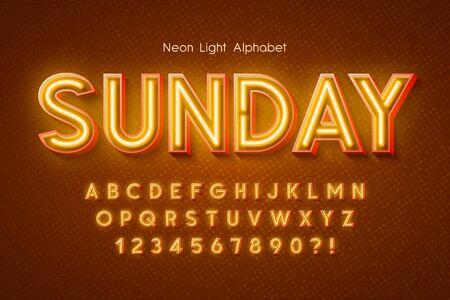 Neon light 3d alphabet, extra glowing font. Foto de archivo - 136191657