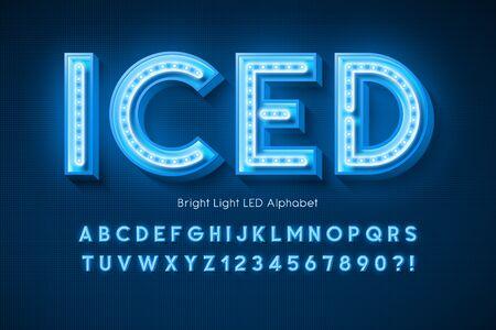 Neon light 3d alphabet, extra glowing modern font. Foto de archivo - 136403179
