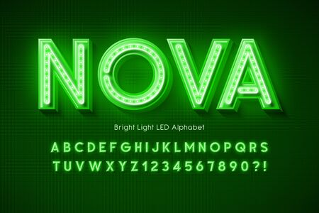 Neon light 3d alphabet, extra glowing modern font.