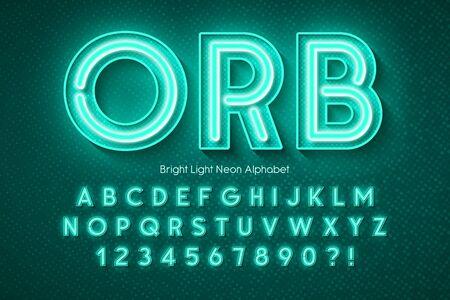 Neon light 3d alphabet, extra glowing font. Swatch color control. Foto de archivo - 136485724