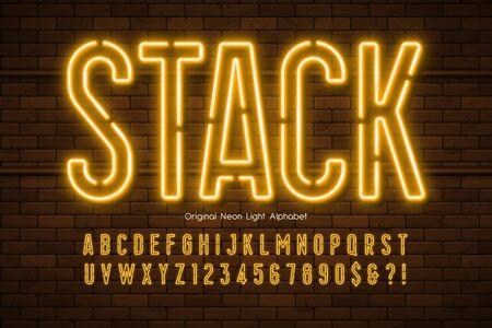 Neon light 3d alphabet, extra glowing modern type. Foto de archivo - 137970493