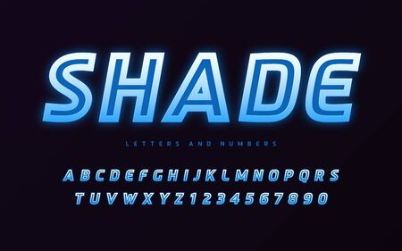 Stylish design of the colorful glowing vector sans serif letters and numbers
