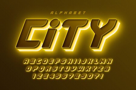 Futuristic sci-fi alphabet, extra glowing space design, creative characters set. Vector illustration