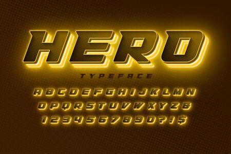 Futuristic dynamic alphabet, extra glowing space design