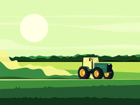Vector illustration of a tractor driving across the field