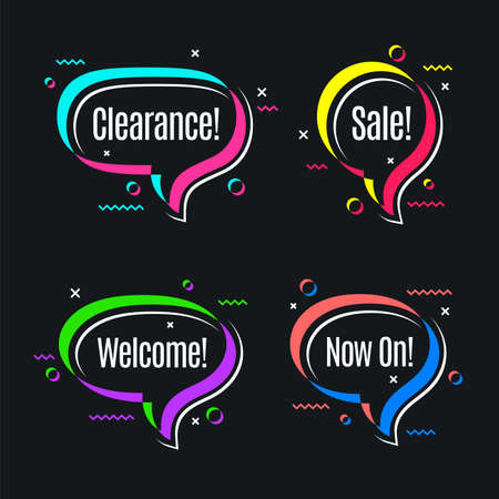Colorful speech bubbles, promotion banner shapes, price tag.
