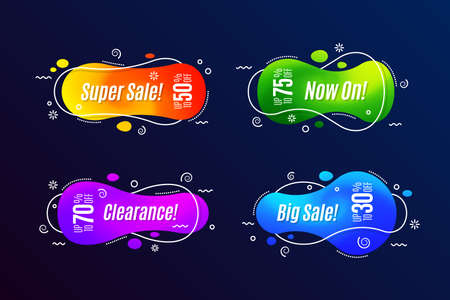 Linear promotion banner shape templates, sticker, badge.