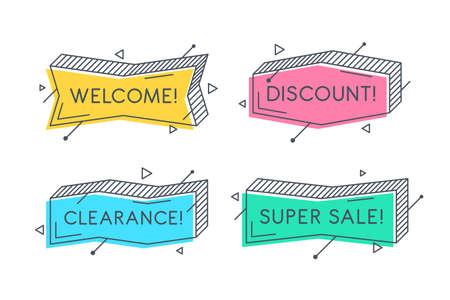 Linear promotion banner shape, colorful sticker design. Ilustração
