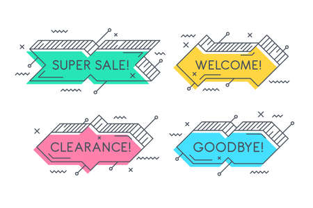 Linear promotion banner shape, colorful sticker.