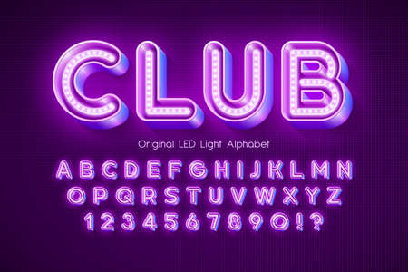 LED light 3d alphabet, extra glowing modern type. Vecteurs