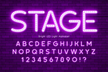 LED light 3d alphabet, extra glowing modern type.