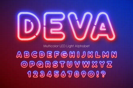 LED light 3d alphabet, extra glowing multicolor type. Фото со стока