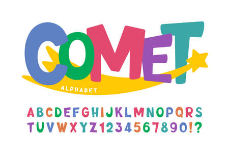 Trendy comical original alphabet design, colorful, typeface. Иллюстрация