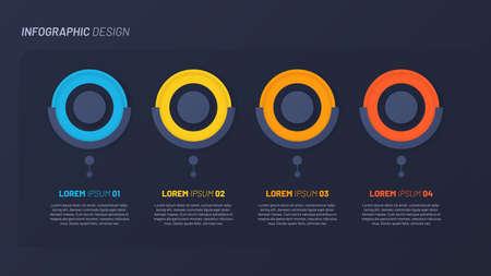 Colorful infographic design, template, concept, presentation. 4 steps 矢量图像