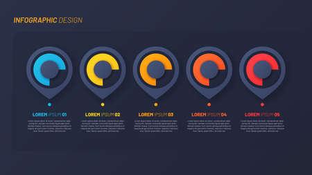 Colorful infographic design, template, concept, presentation. 5 steps