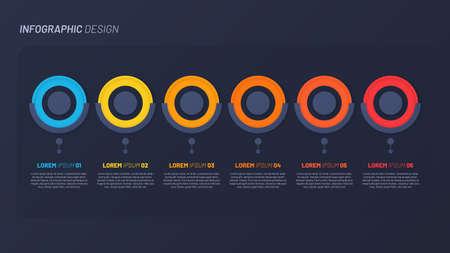 Colorful infographic design, template, concept, presentation. 6 steps Illustration