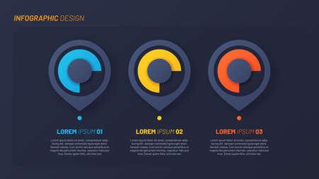 Colorful infographic design, template, concept, presentation. 3 steps