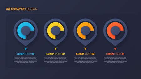 Colorful infographic design, template, concept, presentation. 4 steps Illustration